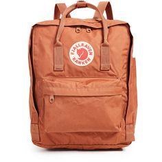 Fjallraven Kanken Backpack ($80) ❤ liked on Polyvore featuring bags, backpacks, brick, zip backpack, fjallraven rucksack, logo backpack, day pack backpack and fjällräven