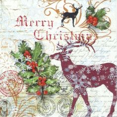 4 Single Paper Napkins Lunch Party For Decoupage Decopatch Craft Christmas Card