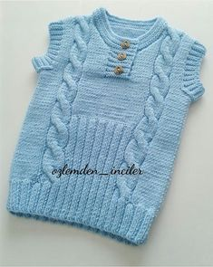 This Pin was discovered by Ros Kids Knitting Patterns, Knitting For Kids, Knitting Designs, Baby Knitting, Crochet Baby, Knit Crochet, Baby Vest, Baby Cardigan, Baby Boy