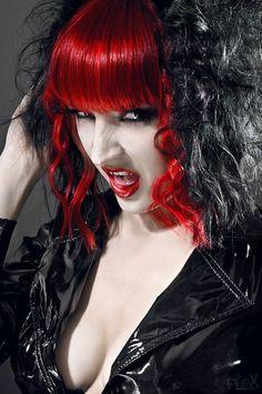 Red bangs black curly hair