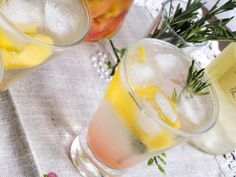 Peach spritzer with rosemary