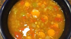 "Lentil Soup : ""Hearty lentil soup, chock full of veggies and very yummy. Serve with warm cornbread. Lentil Soup, Lentils, Cornbread, Curry, Veggies, Healthy Recipes, Ethnic Recipes, Food, Millet Bread"
