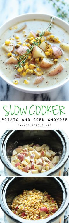 Slow Cooker Potato and Corn Chowder - The easiest chowder you will ever make. Throw everything in the crockpot and you're set! You could just make plain Corn Chowder by leaving out the potatoes. I love just simple Corn Chowder. Crock Pot Soup, Crock Pot Slow Cooker, Slow Cooker Recipes, Cooking Recipes, Healthy Recipes, Crockpot Meals, Freezer Meals, 4 Hour Crock Pot Recipe, Vegitarian Crockpot Recipes