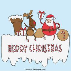 Merry Christmas cartoon vector Free Vector