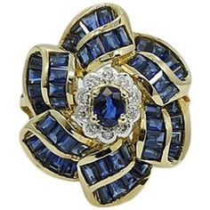 Diamond and Sapphire Flower Yellow Gold Ring