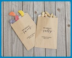 His and Hers Favor Bags, Rustic Wedding Sacks, Barn Wedding, Brides Favorite, Grooms Favorite, Kraft Paper, Personalized, Customized - Lined, Grease Resistant - Set of 25 - Wedding favors (*Amazon Partner-Link)