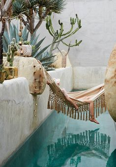 The Jungalow needs…this fringetastic hammock from Anthro. And I'll take the pool too ; Interior Exterior, Exterior Design, Room Interior, Interior Shop, Interior Styling, Como Shambhala Estate, Coachella, Outdoor Spaces, Outdoor Living