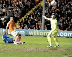 Marlon King watches his late effort clip the post at Bloomfield Road. May 2012.