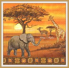 Single Table Party Paper Napkins for Decoupage Decopatch Craft Africa… African Tattoo, African Quilts, African Sunset, African Art Paintings, Beautiful Landscape Wallpaper, Paper Napkins For Decoupage, Black Art Pictures, Africa Art, Elephant Art