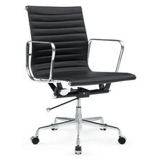 Togo Mid Back Leather Office Chair, Black