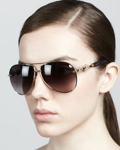 Crystal-Temple Aviator Sunglasses by Gucci at Bergdorf Goodman.