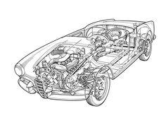 1956-1962 Alfa Romeo Giulietta Spider (750/101) designed by Pininfarina - Illustration unattributed