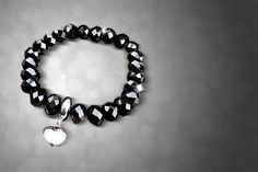 instead of for an elegant crystal bracelet - choose from four colours from GameChanger Associates - save Heart Bracelet, Black Crystals, Bracelet Making, Silver Color, Swarovski, Beaded Bracelets, Lovely Things, Stuff To Buy, Jewellery
