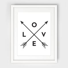 Arrow Print, Love, Black and White Wall Art - Instant Download - Modern Minimalist Tribal Home Decor, Wall Art - Multiple Sizes