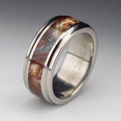 Wood tone titanium burl men's wedding ring by Spexton.com