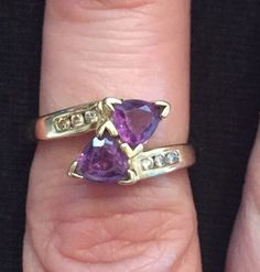 10k Yellow Gold Double Amethyst Trillion & Genuine Diamond Ring Sz 6