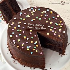 Write Name On Layered Choclote Birthday Cake For Friends
