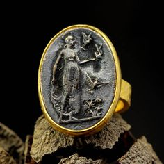 Signet Coin Ring Handcrafted Artisan Hammered 24K Gold