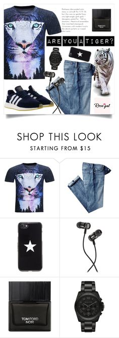 """""""ARE YOU A TIGER? - Men's 3D print T-shirt by Rosegal"""" by suljic-melika ❤ liked on Polyvore featuring 7 For All Mankind, Givenchy, 1 Voice, Tom Ford, Michael Kors, adidas Originals, men's fashion and menswear"""