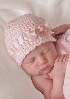 Baby Girl Crochet Hat Pink Newborn Beanie Newborn by BabyGraceHats, $20.00