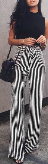 These stripy pants/ trousers would definitely elongate my legs so much. perfect for cooler days during Autumn