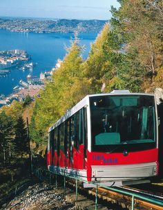 Ride the Fløibanen cable train to the highest point of Bergen. Once at the top of Norway's Mount Floien, you can enjoy the many hiking trails with beautiful vistas overlooking the city.