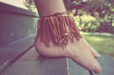 cute leather fringe ankle cuff