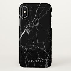 Cracked Black Marble Texture Personalized Name iPhone X Case