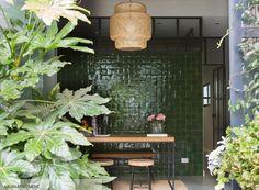 Top Floor.  Green tiles - Emerie et Cie with Ikea Sinnerlig light