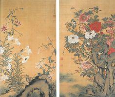(Japan) 牡丹百合 Lilies and Peonies by Ito Jakuchu (1716- 1800).