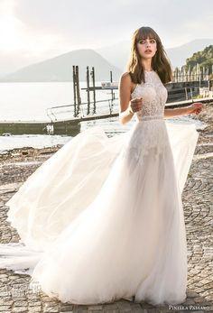 pinella passaro 2018 bridal sleevless halter neck heavily embellished bodice romantic a  line wedding dress open slit back royal train (18) mv -- Pinella Passaro 2018 Wedding Dresses
