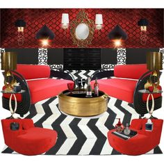 Red Velvet Gold Ribbon Boudoir Lounge Living Room * By Nina Gorceac By  Ninamakeup5 On Polyvore Part 60