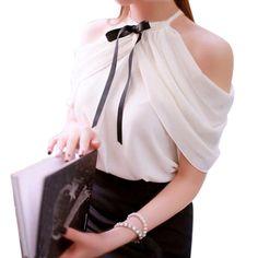 Womens Draped Shoulder, Halter Top Business or Dress Blouse