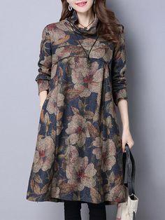 de37082f9b9 Women Vintage Floral Printed Turtleneck Long Sleeve Dresses is  high-quality
