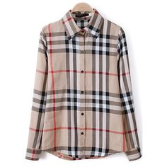 Plaid Loose Lapel Apricot Blouse (75 HRK) ❤ liked on Polyvore featuring tops, blouses, plaid top, tartan blouse, loose tops, loose fit tops and loose fitting blouses