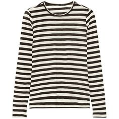 Proenza Schouler Striped slub-cotton jersey top (360 AUD) ❤ liked on Polyvore featuring tops, shirts, striped, sweaters, black, long sleeved, proenza schouler top, striped long sleeve shirt, long sleeve stripe shirt and striped shirt