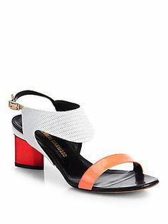 Nicholas Kirkwood Mixed Media Chrome-Heel Sandals