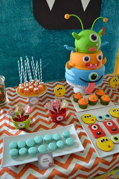 Partylicious Events PR: {Little Monster Birthday Bash} Halloween First Birthday, Little Monster Birthday, Monster 1st Birthdays, Boys First Birthday Party Ideas, Monster Birthday Parties, Baby 1st Birthday, Birthday Bash, First Birthdays, Torta Blaze