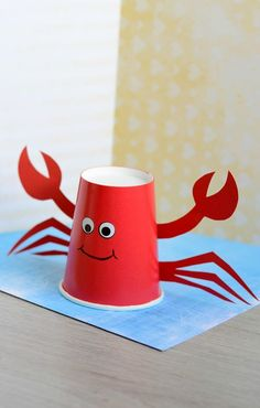Paper Cup Crab Craft for Kids Idea. Perfect craft for a ocean birthday party. Paper Cup Crab Craft for Kids Idea. Perfect craft for a ocean birthday party. Kids Crafts and Activities Kids Crafts, Crab Crafts, Summer Crafts For Kids, Preschool Crafts, Diy For Kids, Easy Crafts, Arts And Crafts, Craft Work For Kids, Adult Crafts