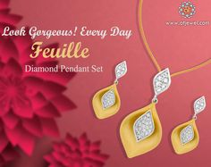 Design Of The Day.......... The purity of gold with some magic of shimmering diamonds... This #AkshayaTritiya Buy Our This Beautiful  Stuning & Stylish Designer Diamond Pendant Set. #Atjewel #Diamond #PendantSet #Gold #Leaf #AkshayaTritiyaSpecial http://www.atjewel.com/euille-diamond-pendant-set