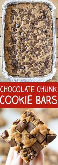 Eat Stop Eat To Loss Weight - Chocolate Chunk Chocolate Chip Cookie Bars - In Just One Day This Simple Strategy Frees You From Complicated Diet Rules - And Eliminates Rebound Weight Gain Baking Recipes, Cookie Recipes, Dessert Recipes, Bar Recipes, Skillet Recipes, Cream Recipes, Just Desserts, Delicious Desserts, Bon Appetit