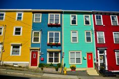 And it should be known that some of those multi-coloured houses form an area of St. John's called JELLY BEAN ROW. Wooden Advent Calendar, Advent Calendars, Rug Hooking Designs, Saltbox Houses, Canadian Travel, Wood Scraps, Newfoundland And Labrador, Pictures To Paint, Painting Pictures