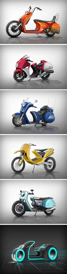 One collection of kick-ass two-wheelers that caught our eyes here in Yanko is the Transferred Vespa Design Range by Jennings Harvey-Davidson – a project poking fun at what a full-on Vespa motorcycle would look like, but they didn't stop there, they explored a whole range of different bikes.