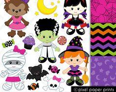 Niñas Halloween - Set de Clip Art y Papeles Digitales