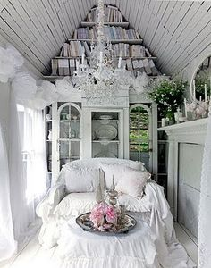Shabby chic decor :: love the chandelier!