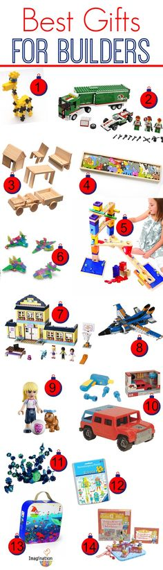 great ideas for kids who love to build - I know we're getting # 7 and #5 for sure!
