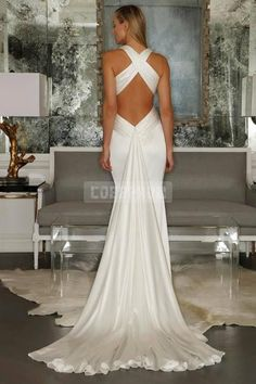 Simple Plunging Mermaid Criss-cross Back Wedding Dress