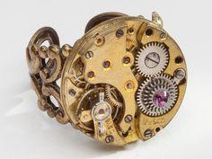 Steampunk Ring antique Victorian gold watch movement gears purple crystal brass filigree adjustable jewelry  #SteampunkRing #SteampunkJewelry #SteampunkJewelrybyMariaSparks