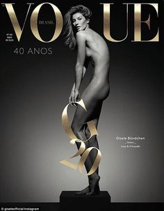 'My 20-year career celebration cover': Gisele Bundchen gave fans a first look at her provocative new May cover for Vogue Brasil via Instagram on Tuesday - two days ahead of the issue's release