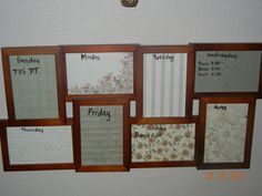 Schedule board made from a $10 collage frame from Wal-Mart and scrapbook paper.  We write our schedule down with dry erase markers weekly.